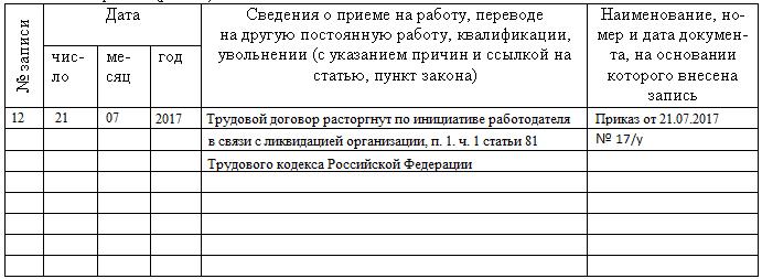 Экран образец запись в трудовой по ликвидации предприятия стал спорить