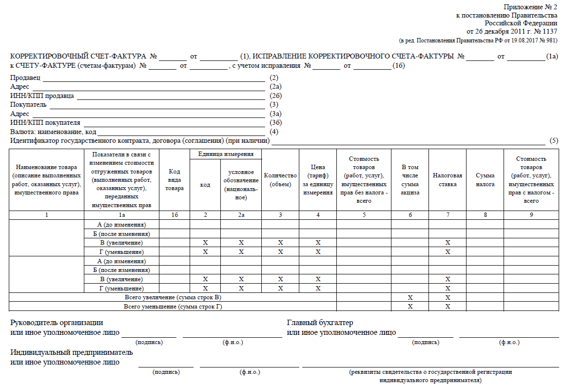 Новая форма счета-фактуры с 01. 10. 2017: бланк, образец.