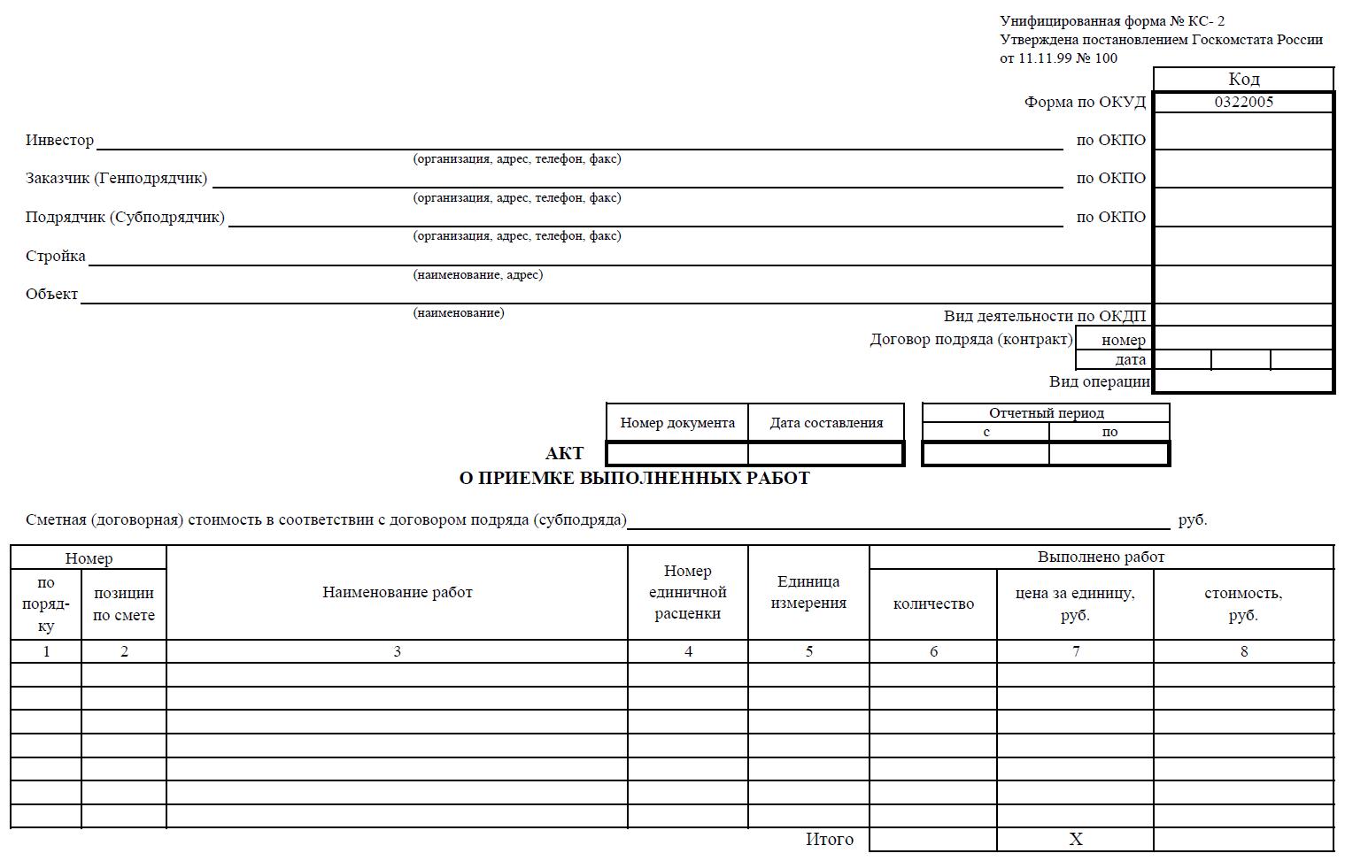 Справка о стоимости выполненных работ и затратформа КС-3 - скачать бланк
