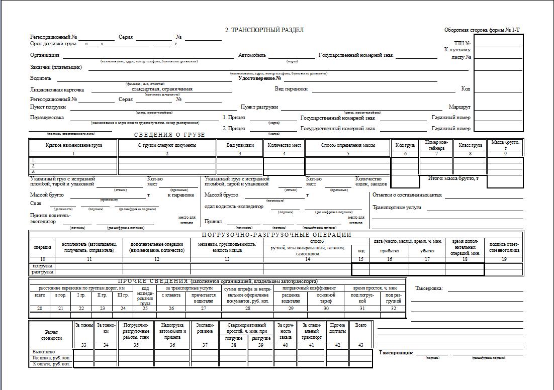 Товарно-транспортная накладная т-1: образец заполнения, бланк скачать.