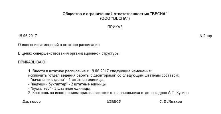 Образец приказа об индексации должностных окладов