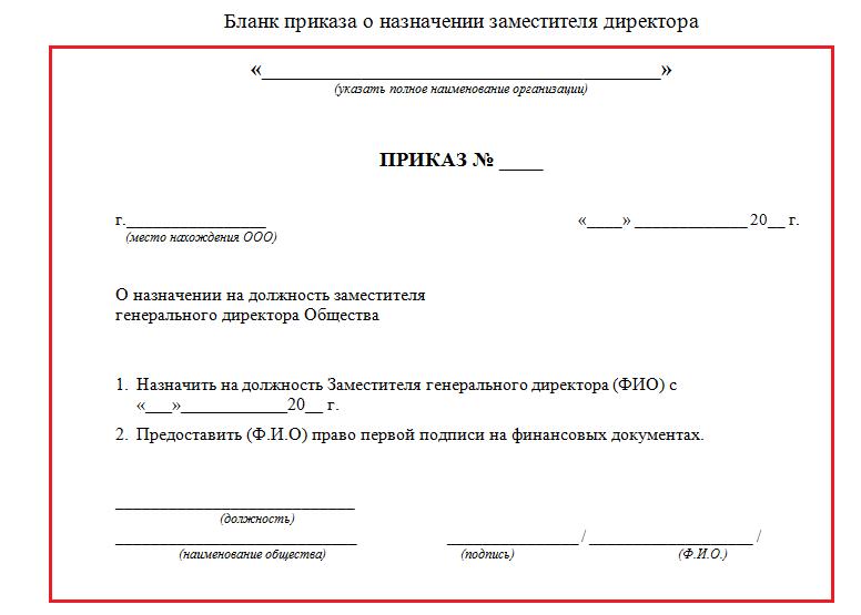 Приказ о назначении нового директора ооо образец 2018