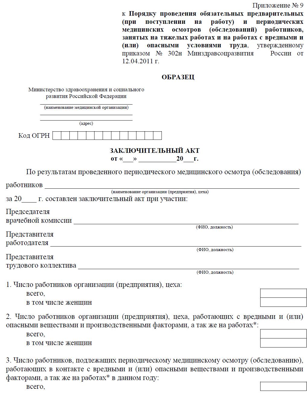 Заключение предварительного (периодического) медицинского осмотра (обследования)