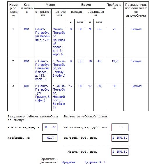 реестр путевых листов образец