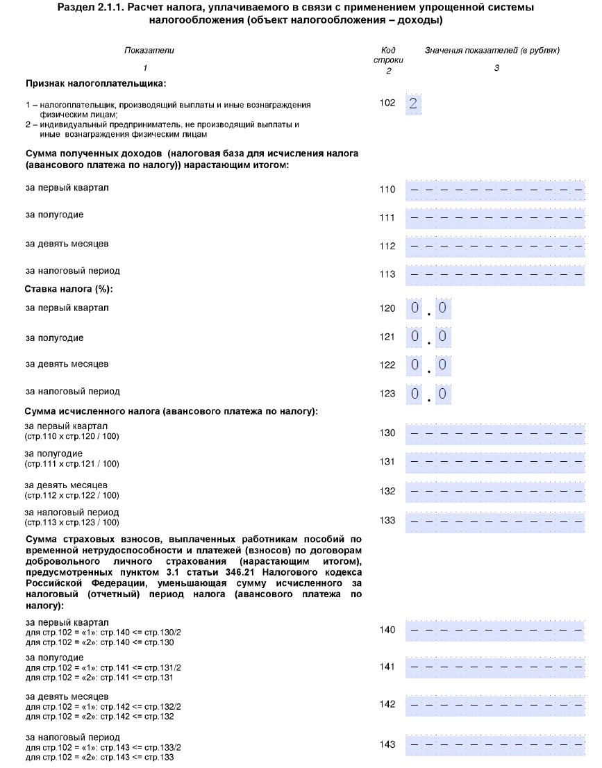 Изображение - Порядок заполнения нулевой декларации по усн для ип usn-razdel2-1-1