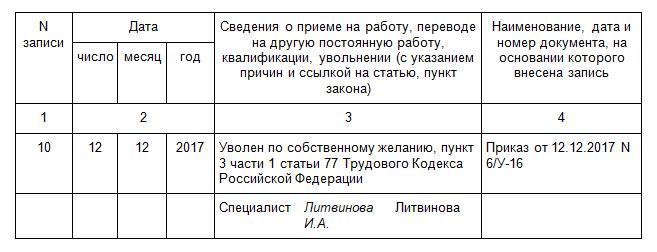 Как сделать запись в трудовой книжке об увольнении по статье 81