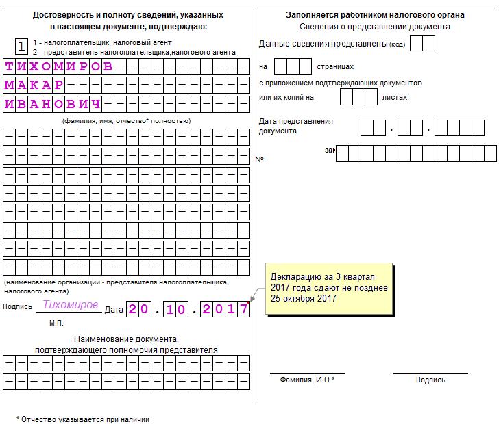 Инструкция по заполнению ндс 2017