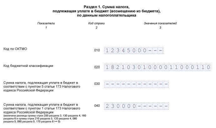 Образец заполнения раздела 1 декларации по НДС