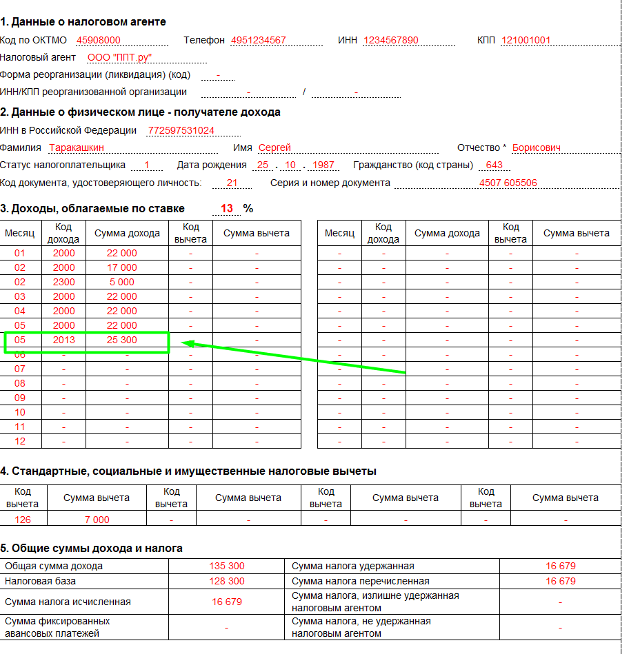 Образец заполнения 2-НДФЛ