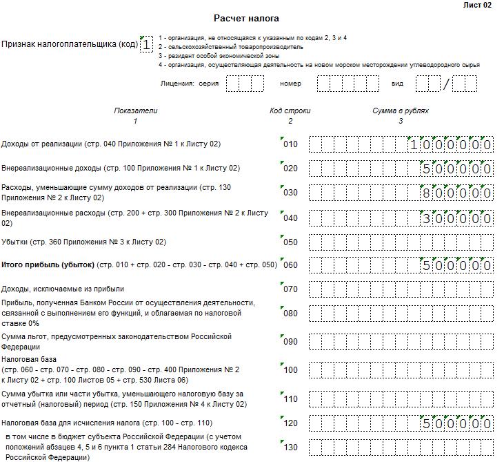 образец заполнения декларации по налогу на прибыль за 6 месяцев 2016 - фото 8